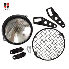 ZXMT 6.5 Retro Motorcycle Headlight Grill Side Mount Cover W/ Bracket Cafe Racer New 6 5 inch retro motorcycle headlight grill side mount cover with bracket motorcycle side mount headlight cover