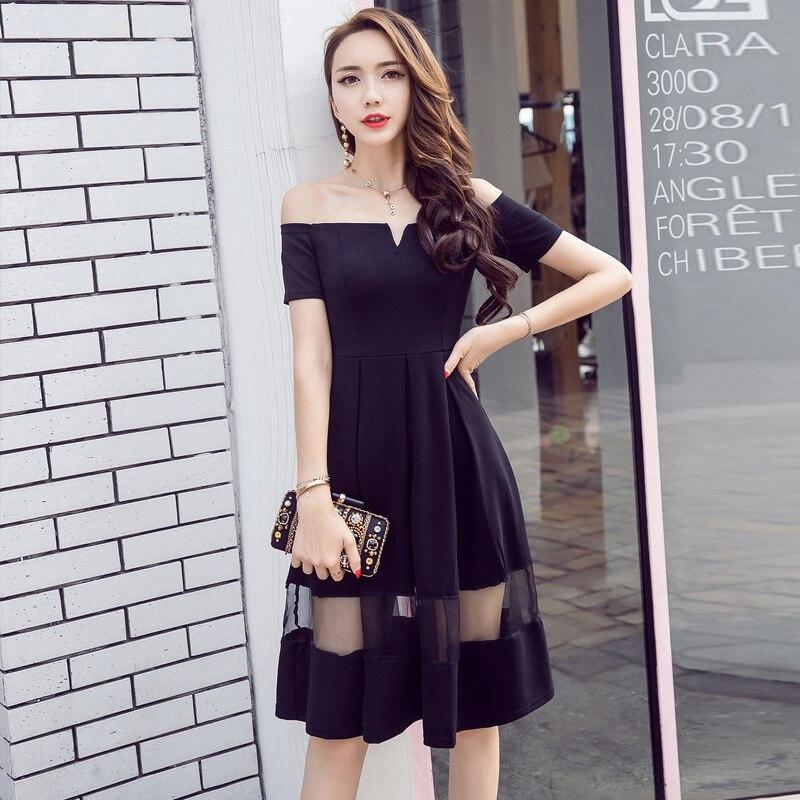 WOMEN'S Dress Summer Debutante Horizontal Neck Off-Shoulder Elegant High-waisted Puffy Black Dress Gauze Midi-skirt Dress