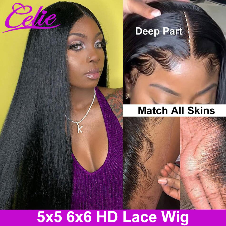 Парик Celie на сетке 5x5 HD, прозрачные парики на сетке для женщин, парик из человеческих волос 6x6, парик на сетке 30 дюймов, прямой парик на сетке сп...