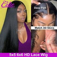 Perruque Lace Closure Wig naturelle lisse – Celie, 5x5, 6x6, 30 pouces, HD, pour femmes