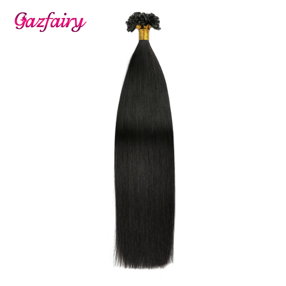 Gazfairy 100% Real Remy Fusion Human Hair Extensions 16 Inch 1g/s 50-100g Natural Color U Tip Pre Bonded Keratin Hair Extensions