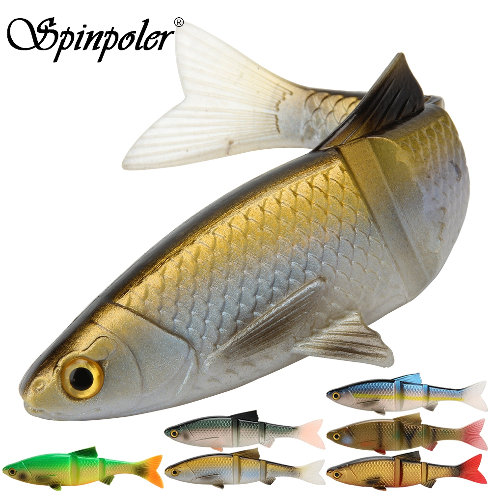 2021 New Spinpoler 3D Swimbait 4.5g 9g 19g Crankbait Silicone Lures Fishing Tackle 3 Segment 80mm 100mm 127mm