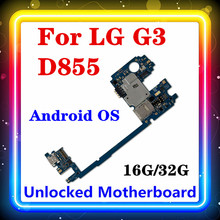 LG G3 D855 마더 보드 용 안드로이드 시스템 rom이 장착 된 100% 오리지널 로직 보드 교체 16gb / 32gb RAM 2G/3G 풀 칩 테스트 MB
