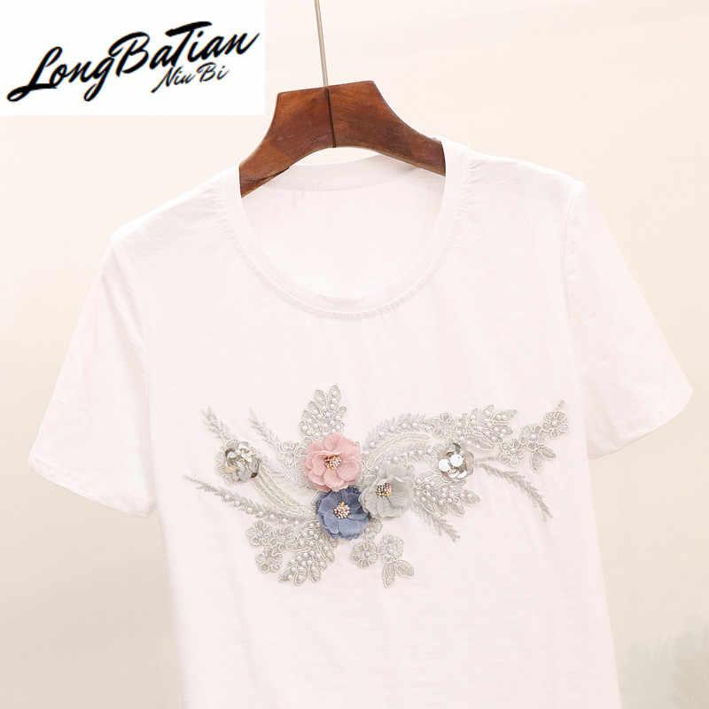 2020 mulheres beading 3d flor 2 peças define mulher bordado tshirts calças de brim moda lantejoulas topos camiseta femme ternos