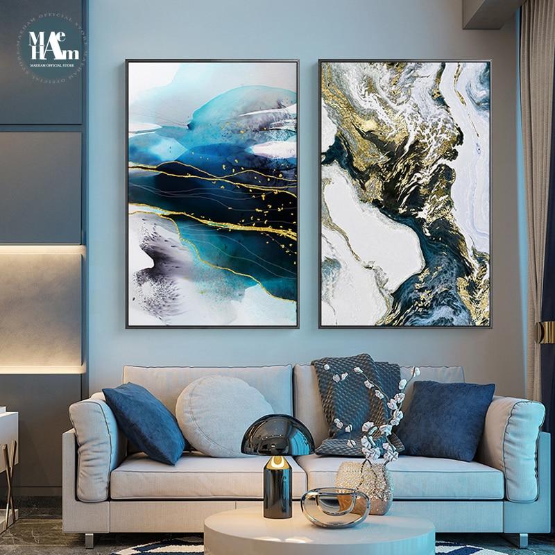 Абстрактная акварель река золотые линии настенный постер печать Современная Картина на холсте искусство для гостиной декоративные картин...