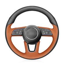 Ręcznie szyte czarne prawdziwa skóry osłona na kierownicę do samochodu Audi A1 (8X) Sportback A3 (8V) A4 (B9) Avant A5 (F5) Q2 2016 tanie tanio CN (pochodzenie) Górna Warstwa Skóry Kierownice i piasty kierownicy 0 4kg Feel comfortable and protect your steering wheel
