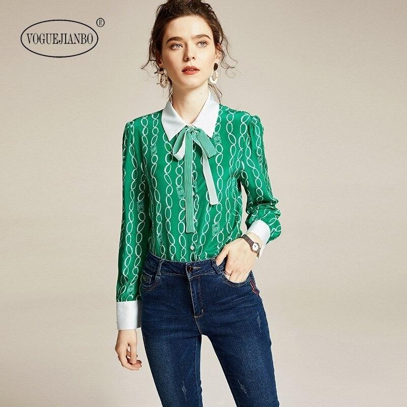 2020early spring women new lapel long sleeve shirt streamer green 100% silk print top blusa feminina camisas blouse blusas mujer