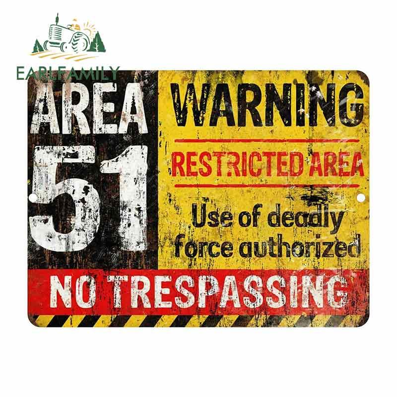 EARLFAMILY 13cm X 9.7cm For Area 51 Warning Sign Funny Car Stickers Vinyl Sunscreen RV VAN Fine Decal JDM Car Accessories Logo