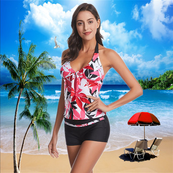 2020 Two Piece Swimwear Women Plus Size Tankini Swimsuits Tie Front V neck Bikini Set Beach Wear Floral Print Bathing Suit 2XL plus size floral print fringed bikini set