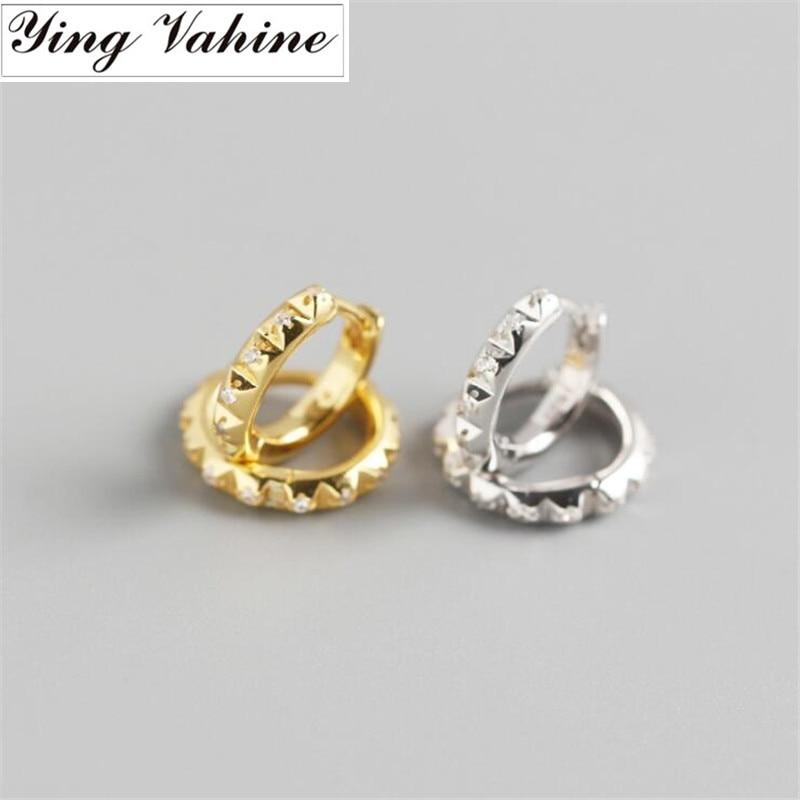 Ying Vahine 100% 925 Sterling Silver Punk Style Gearwheel Stud Earrings For Women