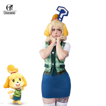 ROLECOS Anime Animal Crossing Cosplay Costumes Isabelle Cosplay Costume Women Shirt Vest Skirt Summer Suit With Headwear Tail недорого