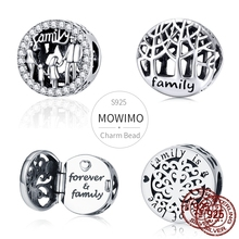 MOWIMO Lucky Family Dad Mom & Son Daughter Beads 100% 925 Sterling Silver Charm Fit Original Silver Bracelet Pendant Jewelry