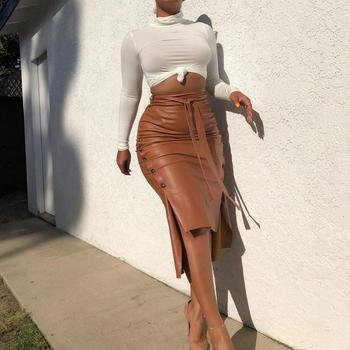 Brown Elegant Split Hem Front Double Button Belted Leather Look Long Skirt Office Lady Solid Workwear Maxi Skirts knot front pep hem striped top with skirt