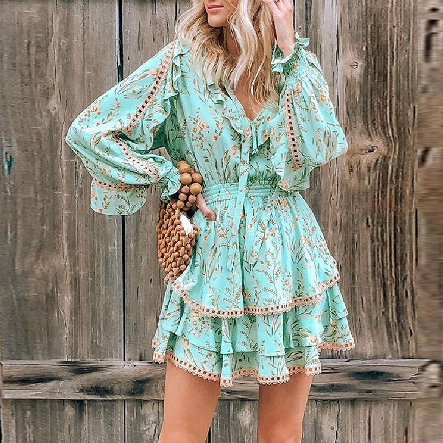 TEELYNN Green Floral Print Mini Dress Maisie Playdress Strawberry V-neck Long Sleeve Summer Dresses Gypsy Women Dresses Vestidos