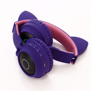 Image 5 - Cute Cat Bluetooth 5.0 Headset Wireless Hifi Music Stereo Bass Headphones LED Light Mobile Phones Girl Daughter Headset For PC