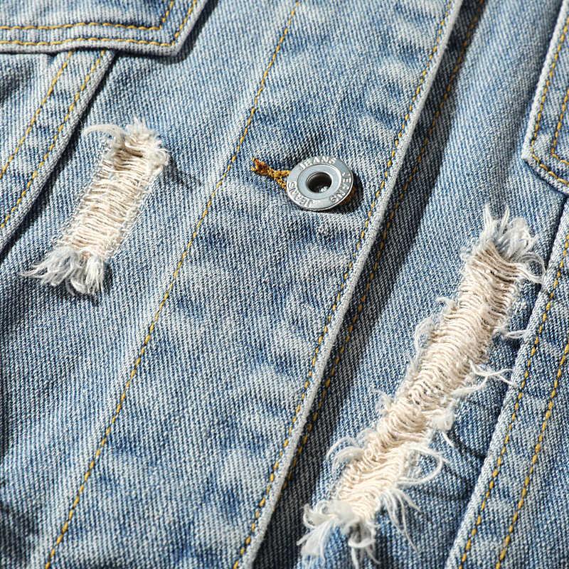 DARPHINKASA erkekler açık mavi Denim ceket ceket sıcak Denim ceket erkekler rahat Retro Denim ceket Streetwear 5XL