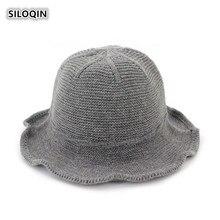 SILOQIN  Foldable Womens Cap Autumn Winter New Warm Bucket Hat Panama Ladies Elegant Fashion Brand Wool Knit Hats Sombreros