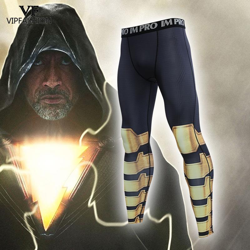 VIP FASHION Male Cloth Shazam 3D Printed Pattern Compression Black Adam Workout Leggings Men Fitness Skinny Leggings Trousers