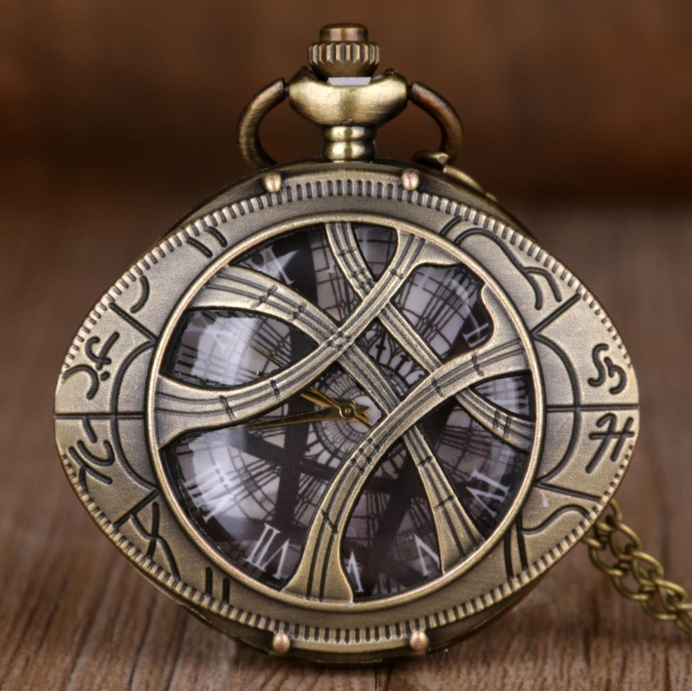 Doctor Who Theme Eye Pattern Hunter Quartz Pocket Watch Vintage Necklace Chain Retro Fob Watch Men Pendant Women Clock Best Gift
