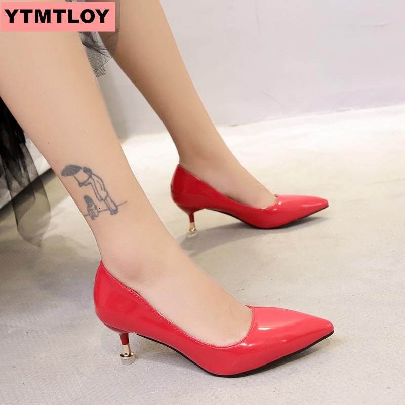 2019 HOT Women's Shoes Candy Color Pointed High Heels Patent Leather Dress High Heels Boat Shoes Wedding Shoes Zapatos Mujer