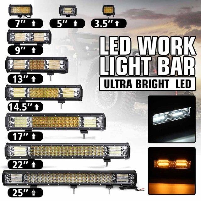12V 24V Offroad LED Light Bar Spot Flood Combo LED Work Light 5 Modes for Tractor Trailer Boat Off Road 4WD 4x4 Truck SUV ATV