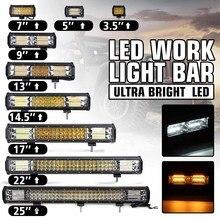 12V 24V światło terenowe LED Bar Spot Flood Combo LED światło robocze 5 trybów dla przyczepa do ciągnika łódź Off Road 4WD 4x4 ciężarówka SUV ATV