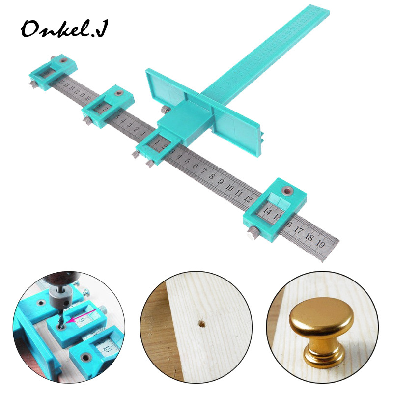Woodworking Wardrobe Door Ambry Handle Punched Installation Tool Stainless Steel Multi functional Auxiliary Handle Hole Locator|Power Tool Sets| |  - title=
