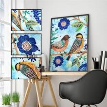5D DIY Diamond Painting Special Shape Bird Beauty Flower Embroidery Sticker Mosaic Decoration