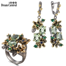 DreamCarnival 1989 Feminine Stunning Green Zircon Earring Rings Set Engagement Party Jewel Eye Catching Olivine Flower ER3874S2