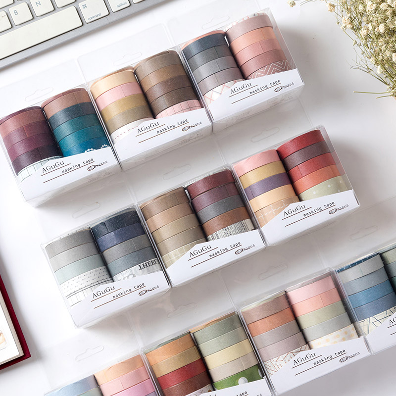 10Pcs/Set Sweet Dream Series Kawaii Grid Washi Tape Set Decorative Masking Tape Sticker Diary DIY Scrapbooking School Supplies