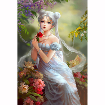 5D DIY Diamond Painting Painted Rose Anime Girl Mosaic Embroidery Cross stitch Embroidery Crafts Decoration G1000 image