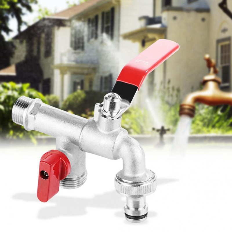 Double Valve 90 Degree Water Tap 1/2 Inch Brass Faucet Home Outdoor Garden Tool