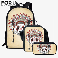 FORUDESIGNS 3Pcs/Set Cartoon Children Backpacks Shoulder Bags Kids Indian Style Animal Printing Schoolbag Bookbag Best Gift