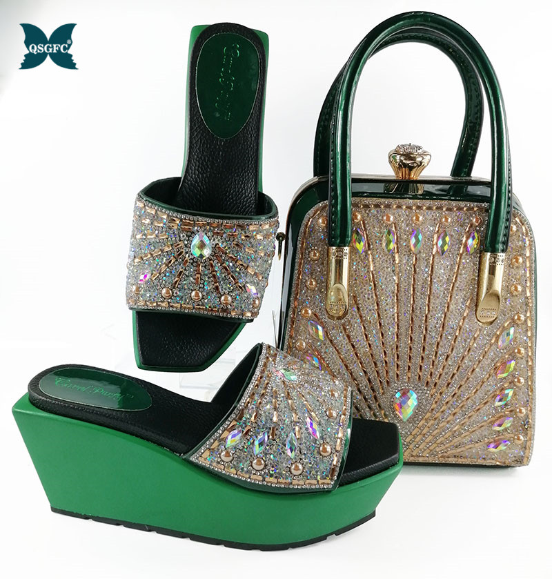 Newest Fashion Green Color Latest Design Matching Italian Shoe and Bag Set Wedding and Party African Shoes and Bag Set