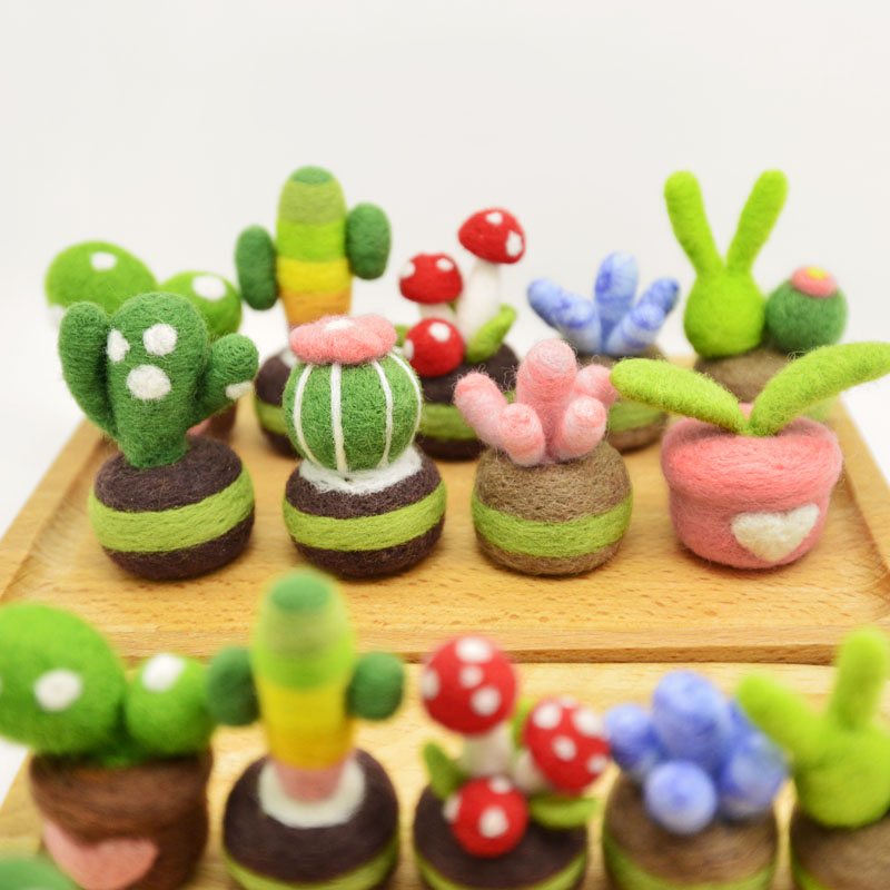 Diy Wool Felt Poking Fun Craft Toy For Children Colorful Succulents Adult Handmade Material Kit Girl Gift