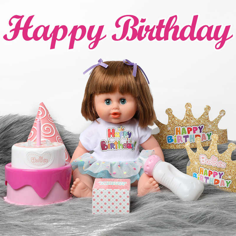 14 inch bebe reborn Doll 36cm 현실적인 실리콘 베이비 시뮬레이션 소리 생일 케이크 LED 의류 세트 완구 어린이를위한 소프트
