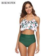 New Sexy Floral Print Bikini Women Swimsuit Backless Halter Bathing Suit S-2XL Girl High Waist Swimwear Lotus Padded Bikini Set women s sexy halter print high waist tassels bikini set