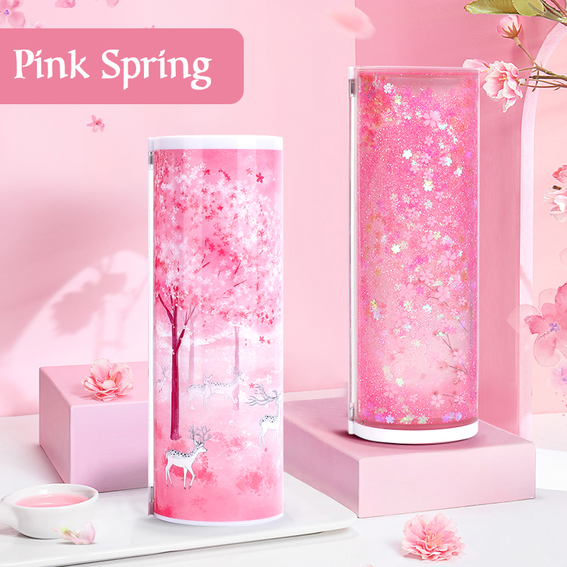Newmebox Pink Pencil Case Kawaii Fallen Flower Pencil Box School Pencil Case For Girl Plastic Stationery Romantic Cherry Blossom