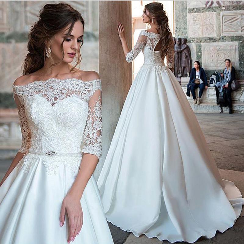 LORIE Princess Wedding Dresses Off The Shoulder Half Sleeve Lace Bride Dresses Lace Up Back Wedding Ball Gown Vestido De Novia