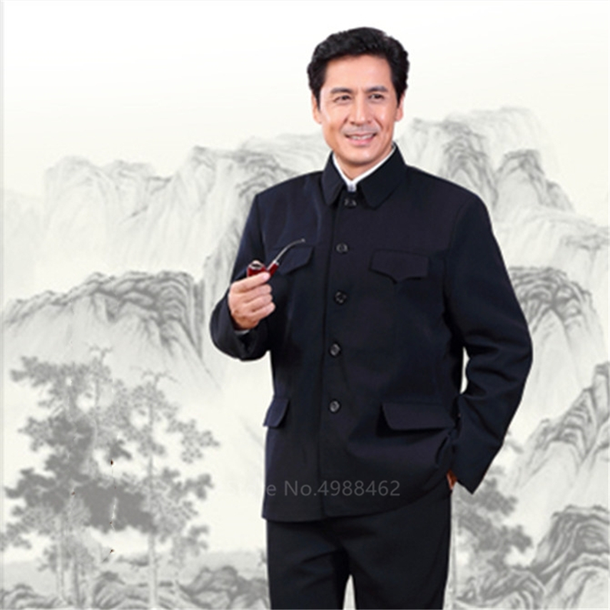 Man Classic Chinese Tunic Suit Retro Oriental Casual Slim Jacket+Pants Mandarin Collar Business Suit Solid Zhongshan Set