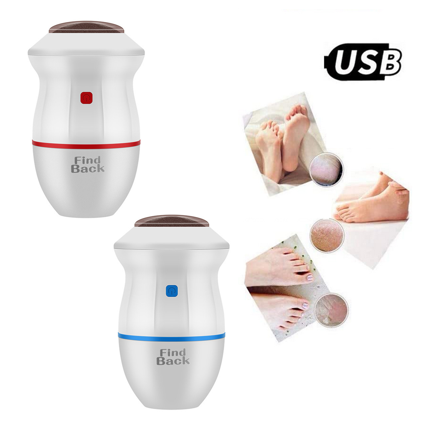 Electric Adsorption Foot File Callus Remover Pedicure for Dry Hard Dead Cracked Skin USB Rechargeable Foot Care Tool