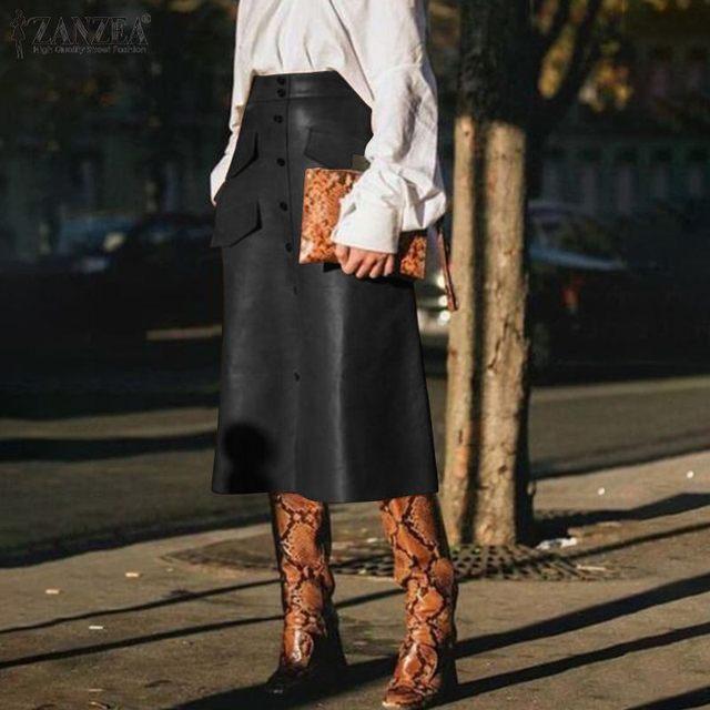 Stylish Button Skirts Women's PU Leather Vestidos ZANZEA 2020 High Waist Split Pockets Midi Skirts Female Solid Robe Plus Size 6