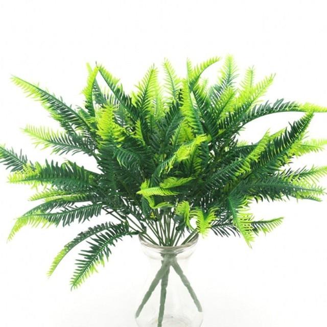 7 Fork Artificial Plants Eucalyptus Grass Plastic Ferns Green Leaves Fake Flower Plant Wedding Home Decoration Table Decors 6