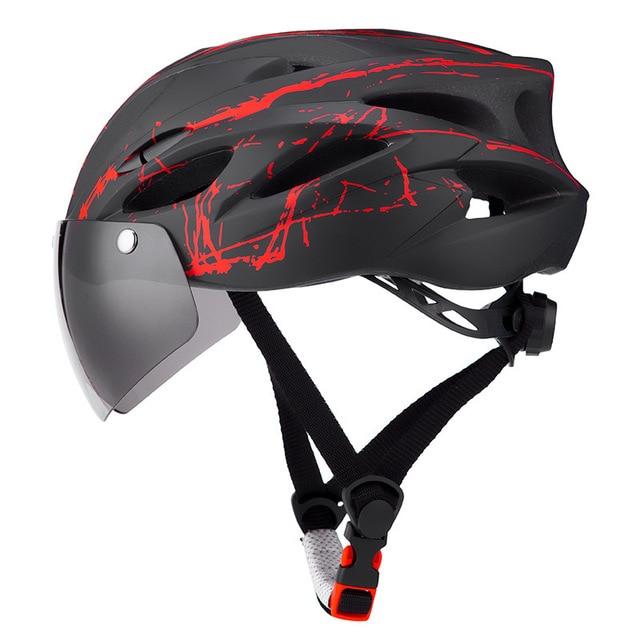 Ciclismo capacete com óculos de proteção ultraleve mtb capacete da bicicleta das mulheres dos homens ciclismo segurança esportes ao ar livre capacete de corrida 1