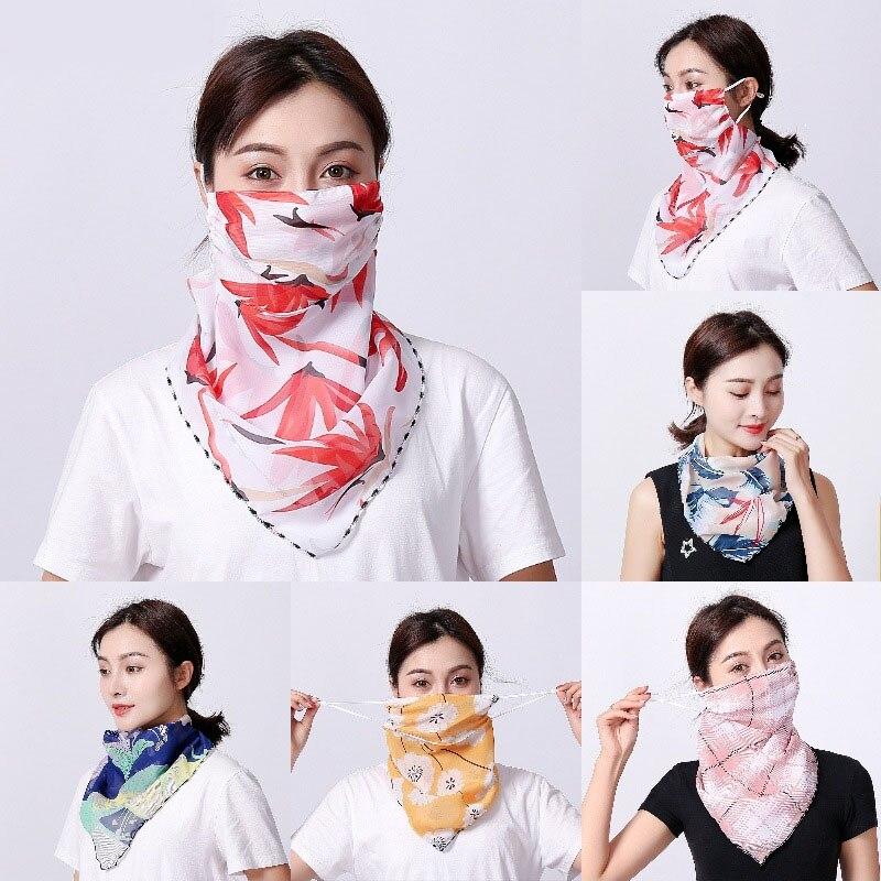 Summer Sun Protection Facemask Women's Scarf Chiffon Outdoor Driving Cycling Masks Sunshade Neck Sunscreen Mask Silk