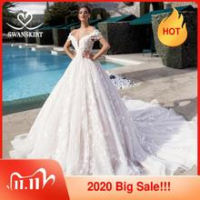 Swanskirt Vestido de novia escote Corazón, hombros descubiertos, apliques de cuentas, flores 3D, Princesa, novia, Vestido de novia K175
