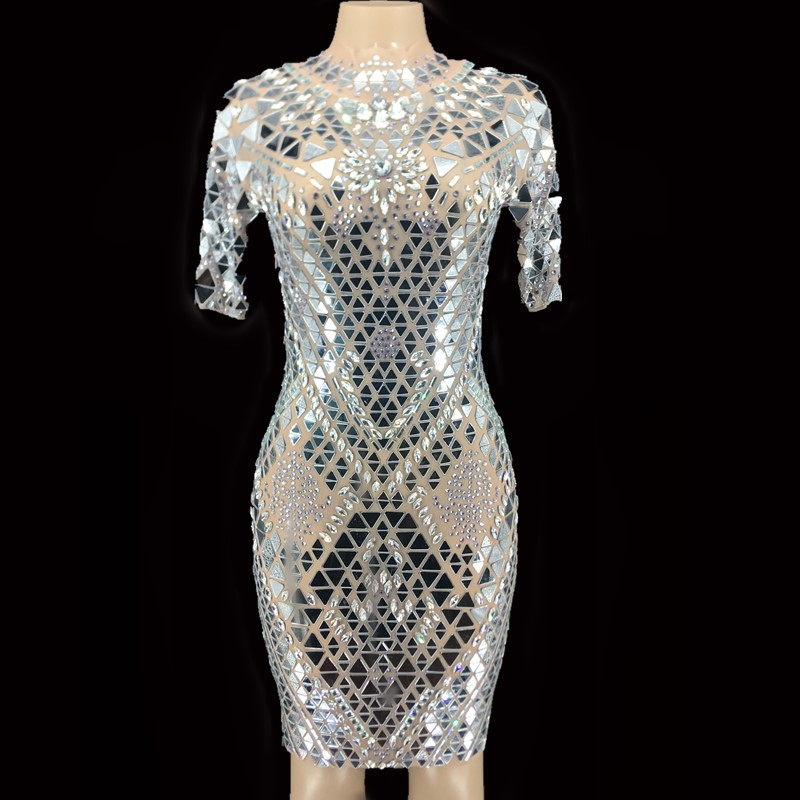 Sparkly Silver Mirrors Stones Mesh Dress Women's Birthday Celebrate Short Sleeves Outfit Prom Dance Sexy Dress YOUDU