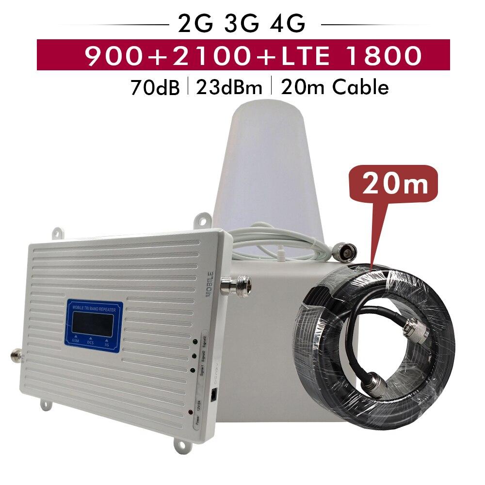 Усиление 65 дБ трехдиапазонный повторитель GSM 900 + DCS/LTE 1800 + WCDMA UMTS 2100 мобильный усилитель сигнала 2G 3g 4G Сотовый усилитель 20 м набор кабелей