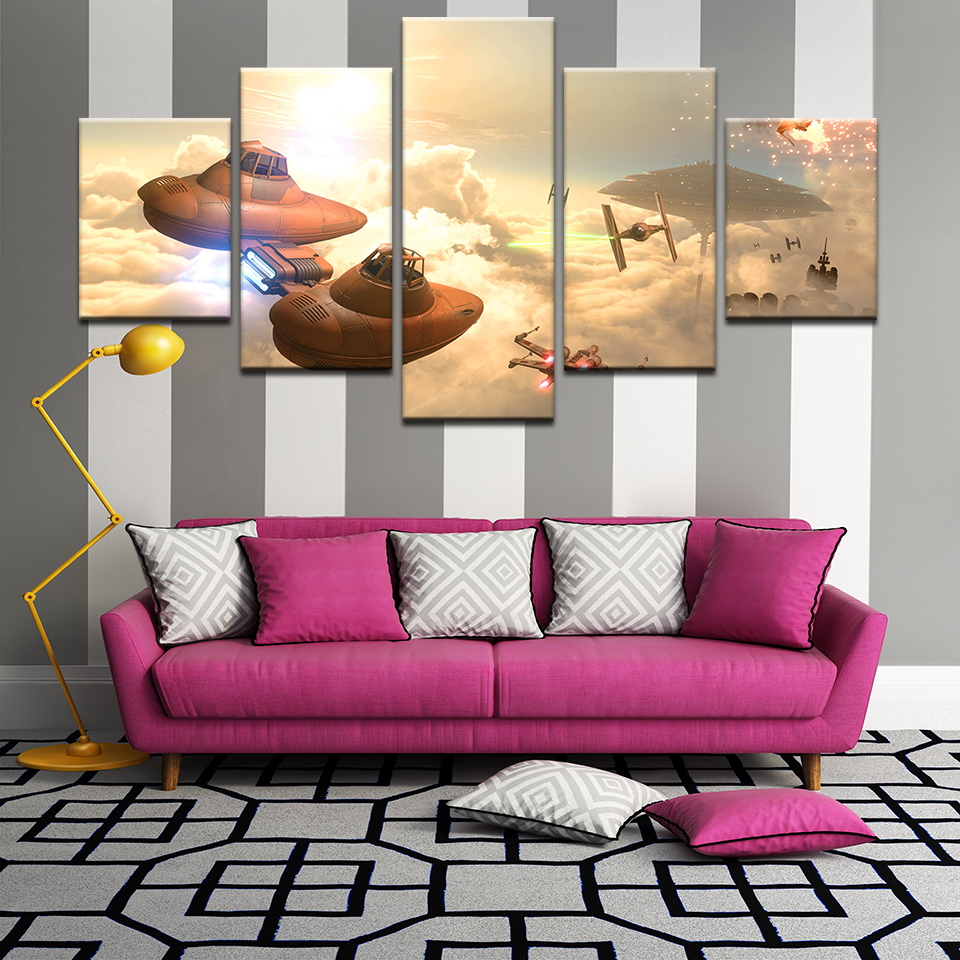 5Panel Gamr Of Star Wars Battlefront Spaceship Poster Canvas Painting Canvas HD Print Modern Children Wall Art Decor image