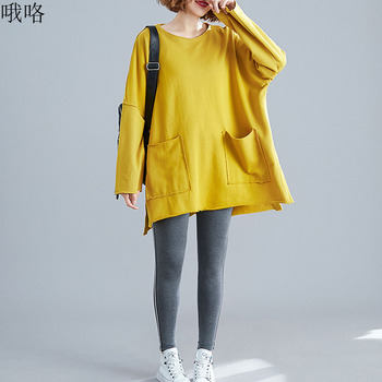 2020 Autumn Women Plus size Cotton Tops Oversized Bat sleeves Stitching pockets Loose Female tops yellow Sweatshirt 4XL 5XL 6XL damaizhang yellow 4xl